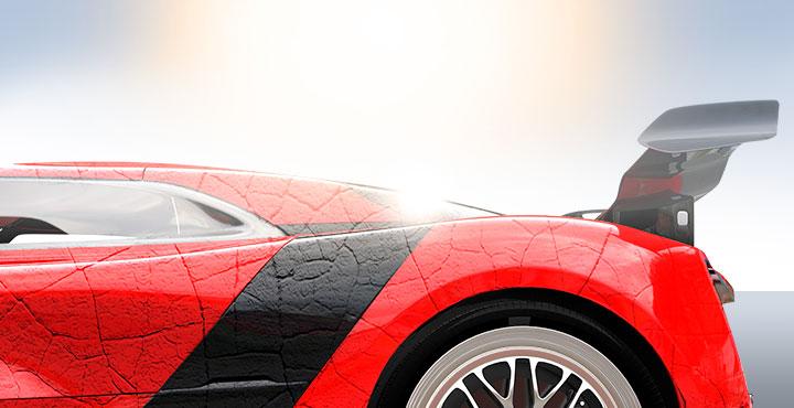 Sportwagen mit Hitzerissen (Illustration)