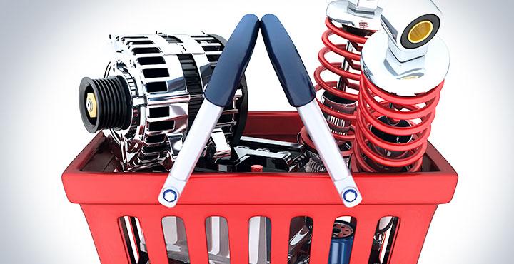 Illustration – Fahrzeugteile im Einkaufskorb