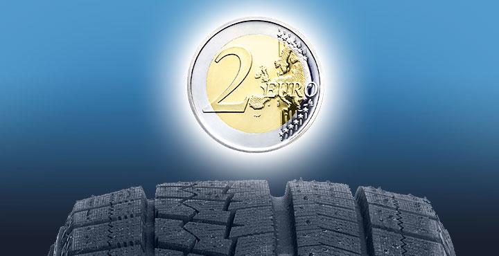 2-Euro-Münze schwebt über Winterreifen (Illustration)
